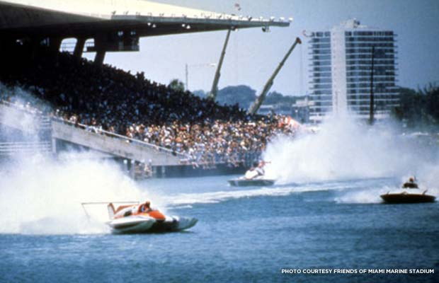 Boat racing at the stadium, date unknown. Courtesy Friends of Miami Marine Stadium