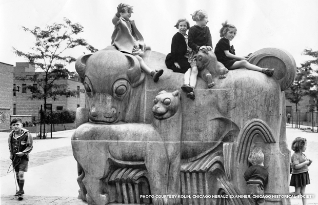 The concrete sculptures were designed for children to climb and play on. The largest of the Animal Court sculptures consists of a bison, and what appears to be a mountain lion and her cub. Credit: National Public Housing Museum, Chicago, IL.