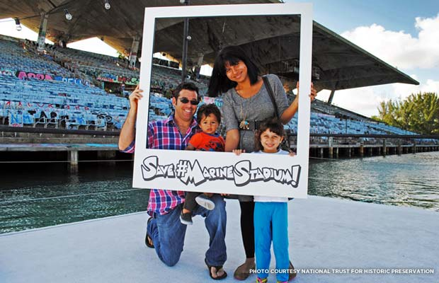 Happy family at Miami Marine Stadium. Credit: National Trust for Historic Preservation