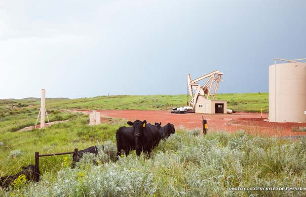 The oil well shown here is along the road that leads to the Elkhorn Ranch. Credit: Kyler Deutmeyer