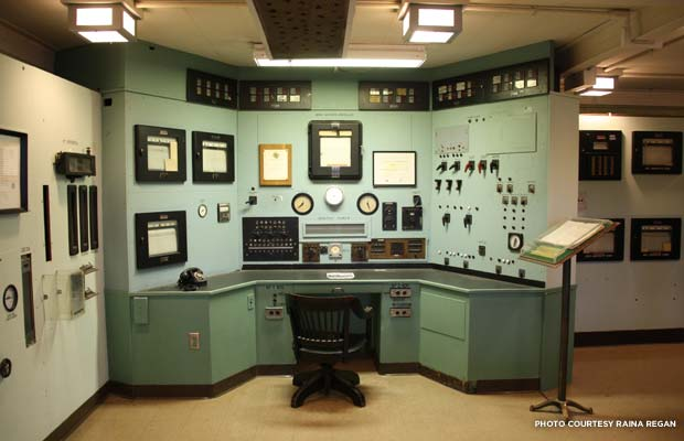 The X-10 reactor control room is authentically preserved, from lighting to the unique knobs and levers that controlled the reactor. Credit: Raina Regan