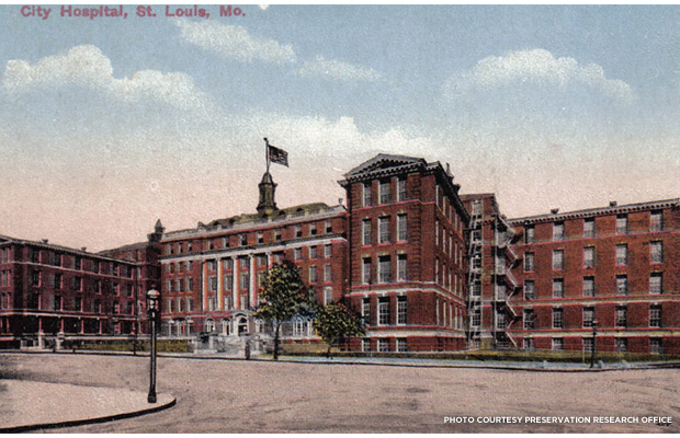 Postcard view showing the completed group of Georgian Revival hospital buildings designed by Albert B. Groves, sometime after 1912. Credit: Preservation Research Office.