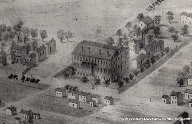 Bird's eye view of the original City Hospital Building, which had been built in 1845. Credit: St. Louis Building Arts Foundation.