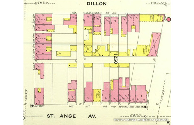 The block upon which the Power Plant would be built as depicted on the Sanborn fire insurance map of 1908. Credit: University of Missouri