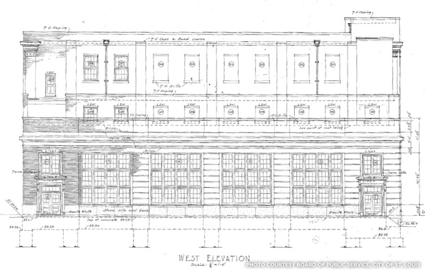 West elevation as drawn on the plans for the Power Plant. Credit: Board of Public Service, City of St. Louis.