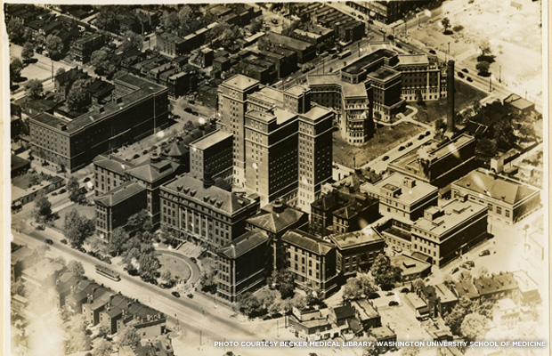 The City Hospital after modernization and expansion in 1941. Credit: Becker Medical Library, Washington University School of Medicine