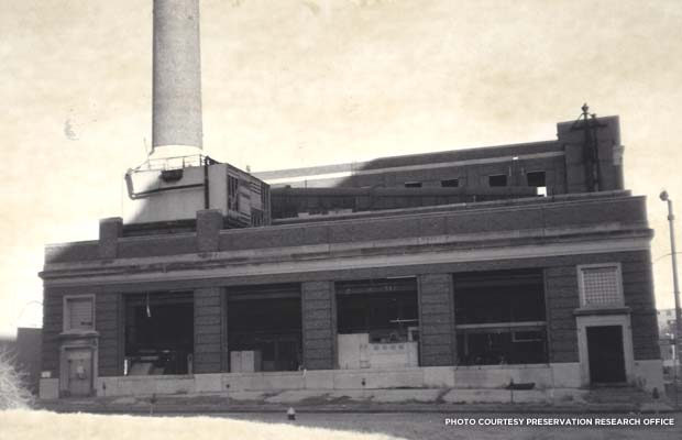 The Power Plant's windows were missing by 1994. Credit: Preservation Research Office