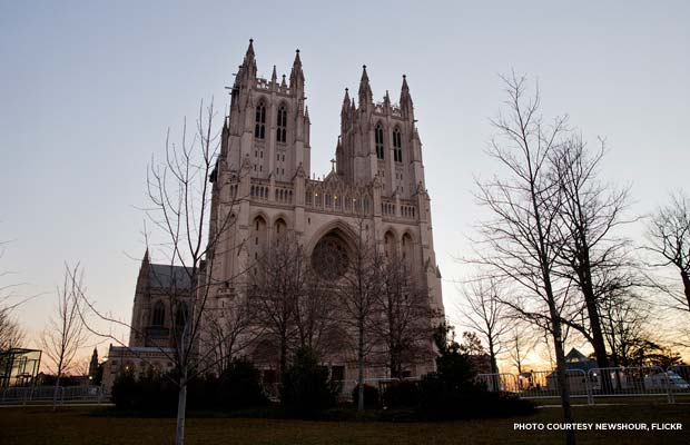 Outside Washington National Cathedral the morning of the 57th Presidential Inaugural Prayer Service. Credit: NewsHour, Flickr