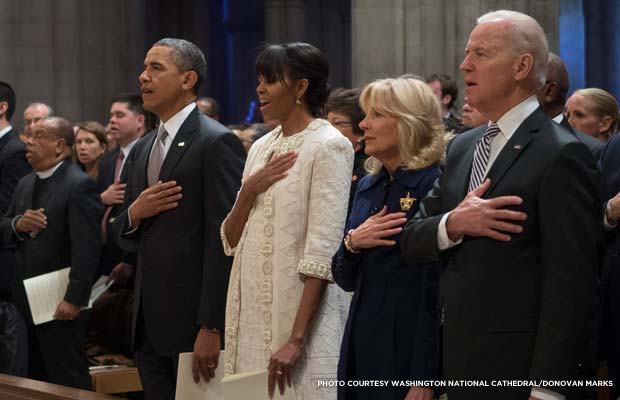 The Obamas and Bidens sing the National Anthem at the Inaugural Prayer Service. Credit: Washington National Cathedral/Donovan Marks