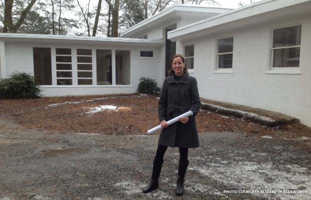 Elizabeth Ellsworth stands in front of her Bimel Kehm house. Credit: Elizabeth Ellsworth
