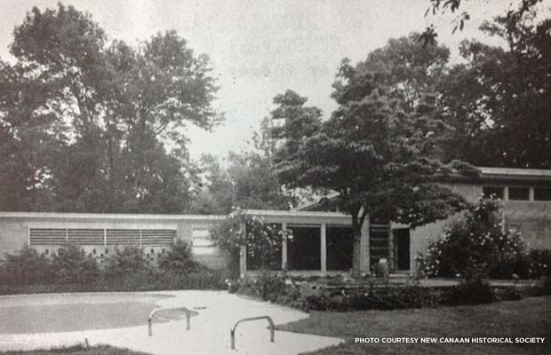 Photo of the rear of Island House (Bimel Kehm), c. 1960s. Credit: New Canaan Historic Society