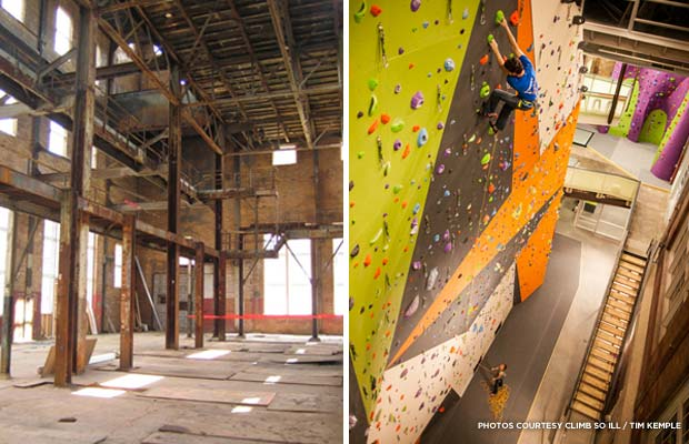 Before and after Climb So iLL's renovation. Credit: Tim Kemple