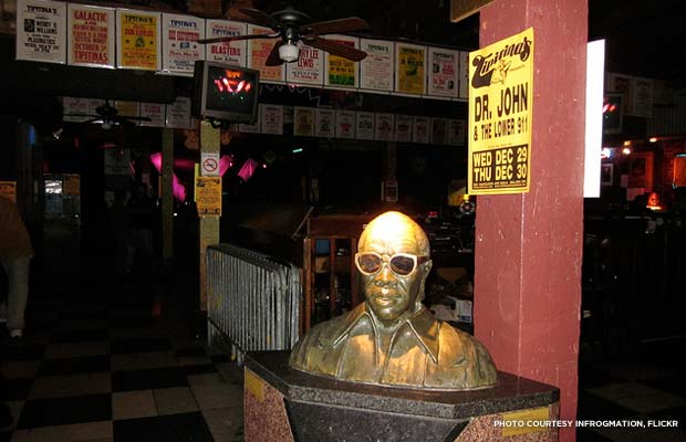 A bust of Professor Longhair sits in Tipitina's, a New Orleans bar and music venue named after one of his songs. Credit: infrogmation, Flickr