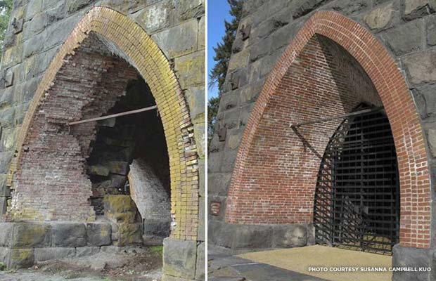 The arch before and after restoration. Credit: Susanna Campbell Kuo