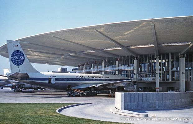 A Boeing 707-100 aircraft sits at the Worldport in 1961. Credit: John Proctor, Wikimedia Commons