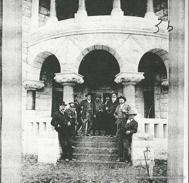 The author's great-great-great-grandfather was one of the first judges at the Comal County Courthouse. Robert Bodemann is pictured in front of the courthouse (fourth from the left) the year the structure was built. Credit: Gwendolyn Purdom