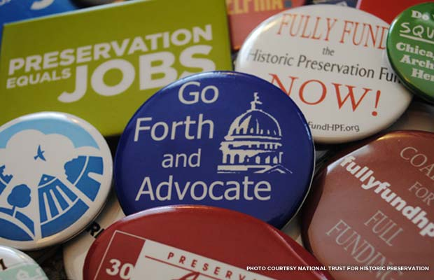 Advocacy buttons. Credit: National Trust for Historic Preservation