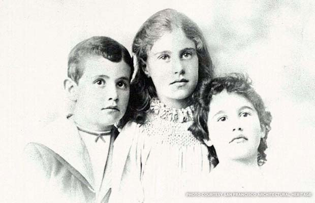 Charles, Florine, and Alice Haas as children. Courtesy San Francisco Architectural Heritage