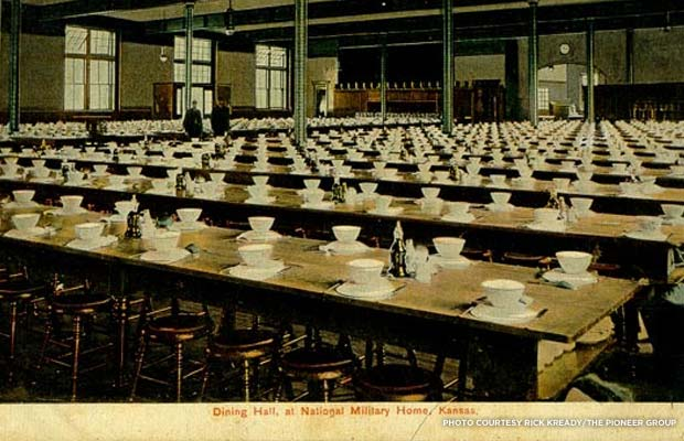 A penny postcard of the dining hall at the Home for Disabled Veterans, built in 1886. Credit: Rick Kready/The Pioneer Group