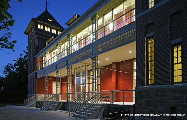 The exterior of the new medical records facility at night. Credit: Rick Kready/The Pioneer Group