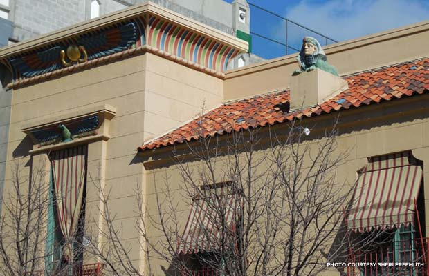 A sphinx head detail on the roof of Boise's Egyptian Theatre. Credit: Sheri Freemuth