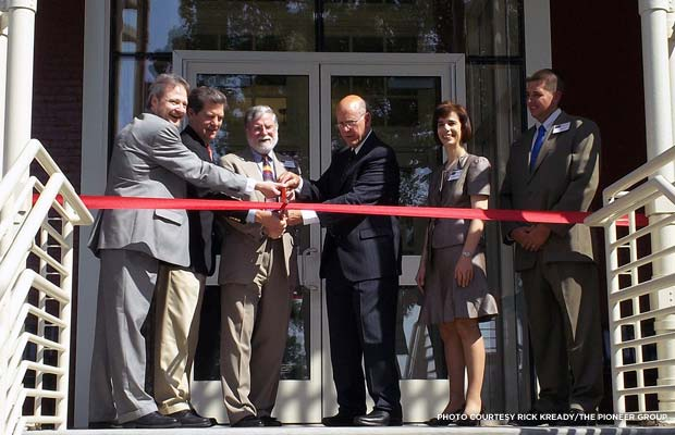 Ribbon-cutting at the renovated Leavenworth 19 building. Credit: Rick Kready/The Pioneer Group
