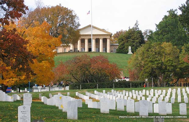 Arlington House also known as the Robert E. Lee Memorial in Arlington National Cemetery. Section 32 of the cemetery is in the foreground. Credit: Protoant via Wikimedia Commons