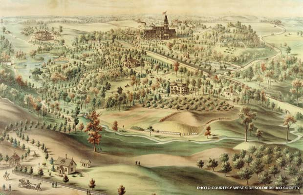 Lithograph of the recuperative village, c. 1875. Credit: West Side Soldiers' Aid Society
