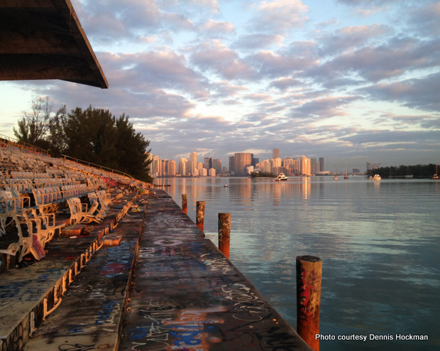 The city of Miami at dawn as viewed from the Miami Marine Stadium seating area.