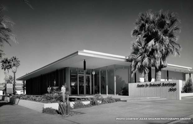 The Santa Fe Federal Savings and Loan building was built in 1961 and designed by renowned California architect E. Stewart Williams. Credit: Santa Fe Federal Savings & Loan, 1960, Julius Shulman (1910 - 2009), photographer; E. Stewart Williams (1909-2005), architect, © J. Paul Getty Trust. Used with permission. Julius Shulman Photography Archive, Research Library at the Getty Research Institute (2004.R.10)