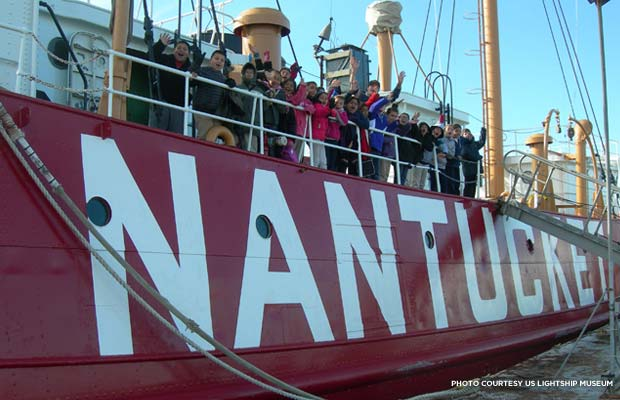 John Rogers and his class onboard the Nantucket Lightship. Credit: US Lightship Museum