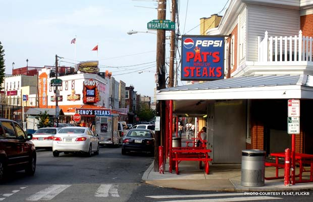 Pat's vs. Geno's, Philadelphia. Credit: pls47