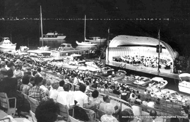 Spectators enjoy an evening show at Miami Marine Stadium, 1971. Courtest Friends of Miami Marine Stadium