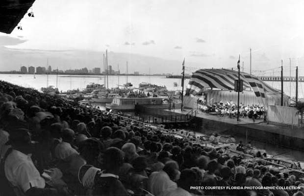 Spectators watch a twilight concert on Biscayne Bay at the Miami Marine Stadium, 1967. Credit: Florida Photographic Collection