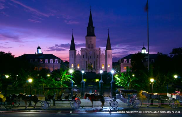 Night falls on Jackson Square, New Orleans. Credit: Jim Nix/Nomadic Pursuits, flickr