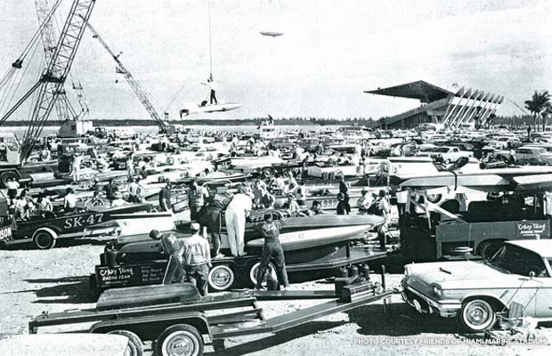 Boat race prep. Date unknown. Courtesy Friends of Miami Marine Stadium