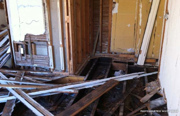 Salvaged floor boards. Orlando, FL. Credit: Scott Sidler