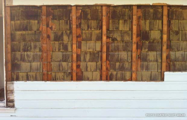Old cedar shingle siding. Orlando, FL. Credit: Scott Sidler