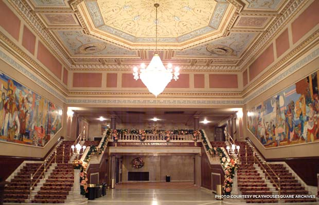 The restored State lobby, with the James Daugherty murals that adorn the State Theatre lobby inspired Ray Shepardson to save four of Cleveland's historic playhouses. Credit: PlayhouseSquare Archives