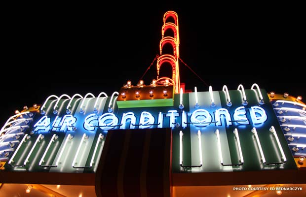 Restored neon marquee at the State Theatre of Culpeper. Credit: Ed Bednarczyk