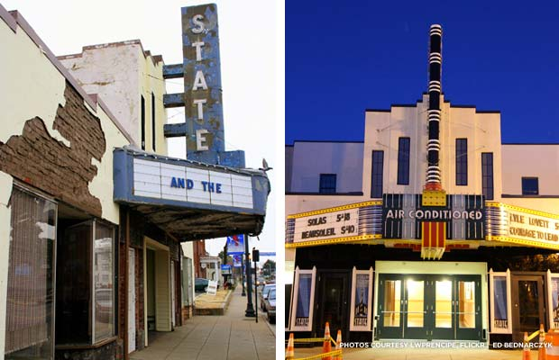 The State Theatre of Culpeper before and after renovation. Credits: LWPrencipe, Flickr; Ed Bednarczyk