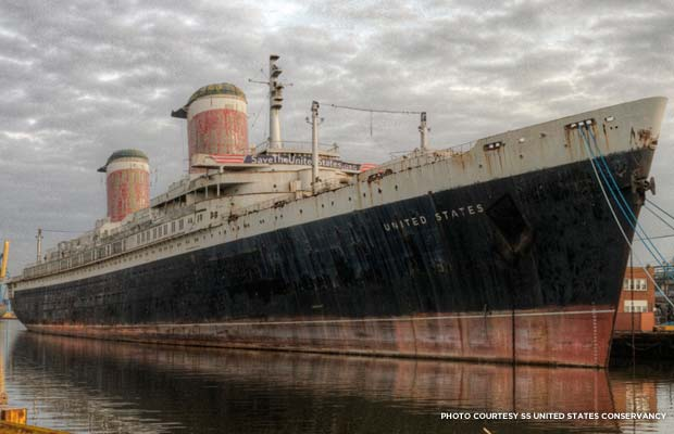 The SS United States is currently docked at Pier 84 in Philadelphia. Credit: SS United States Conservancy
