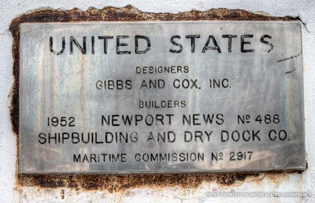 A plaque on the SS United States commemorates the ship's designers and builders. Credit: SS United States Conservancy