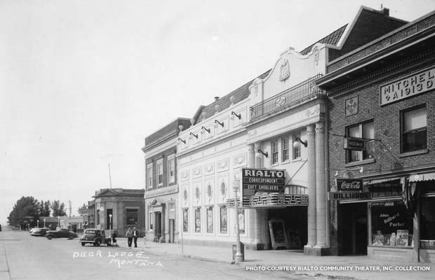 Historic Photo of the Rialto Theater in Deer Lodge, Mont., c. 1942. Credit: Rialto Community Theater, Inc.Ccollection