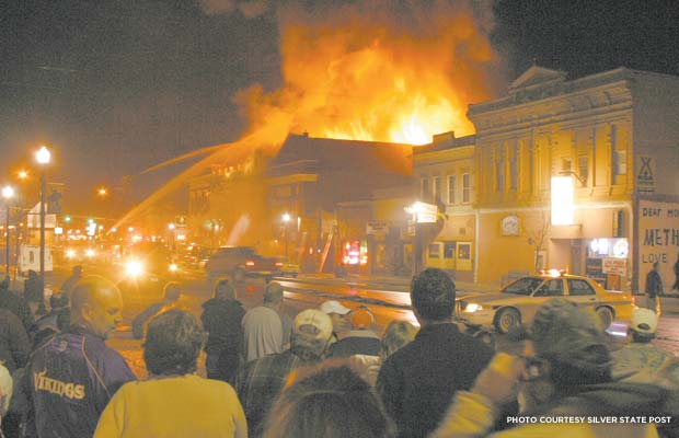 Rialto Theater fire on November 4, 2006. Credit:  Silver State Post