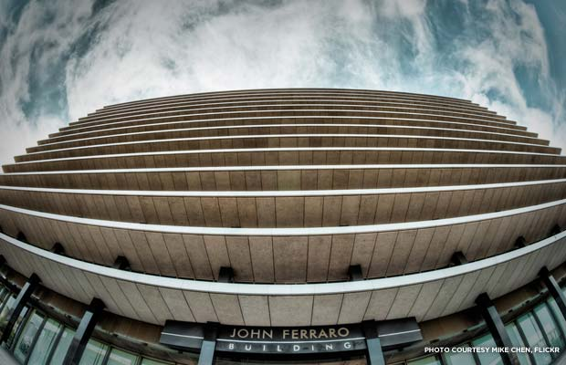Downtown Los Angeles' Department of Water and Power (DWP) Building, now also known as the John Ferraro Building. Credit: Mike Chen, Flickr