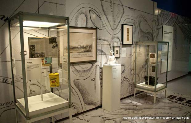 The floors and walls of the exhibit are covered with vinyl maps of the cemetery. Credit: Museum of the City of New York