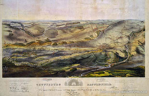 A historic map of the Gettysburg battlefield. Credit: roberthuffstutter, Flickr