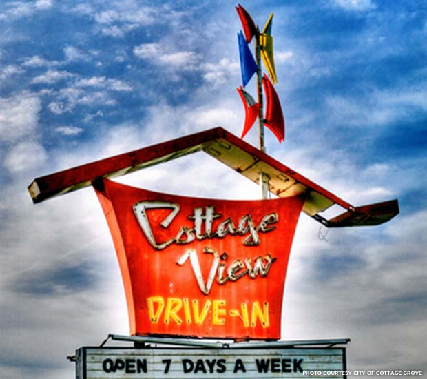 The Cottage View Drive-In's iconic 1960s sign. Credit: City of Cottage Grove