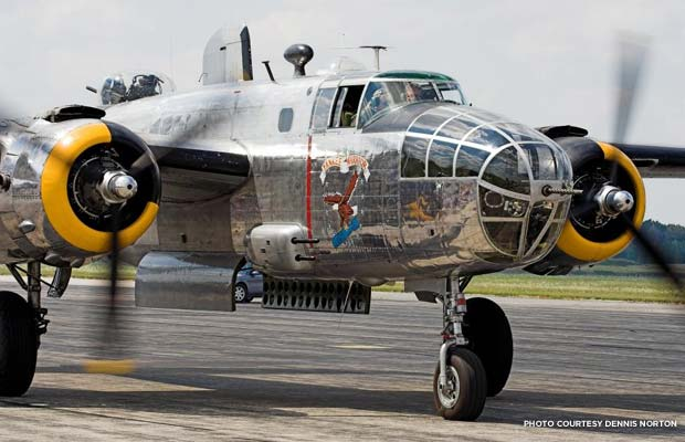 "The B-25D Mitchell ""Yankee Warrior,"" one of many flyable aircrafts of the Yankee Air Museum and in need of a permanent residence. Credit: Dennis Norton"